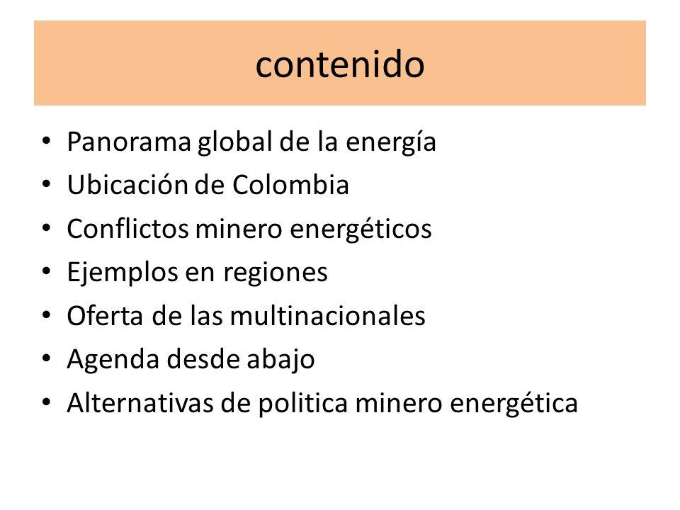contenido Panorama global de la energía Ubicación de Colombia Conflictos minero energéticos Ejemplos en regiones Oferta de las multinacionales Agenda