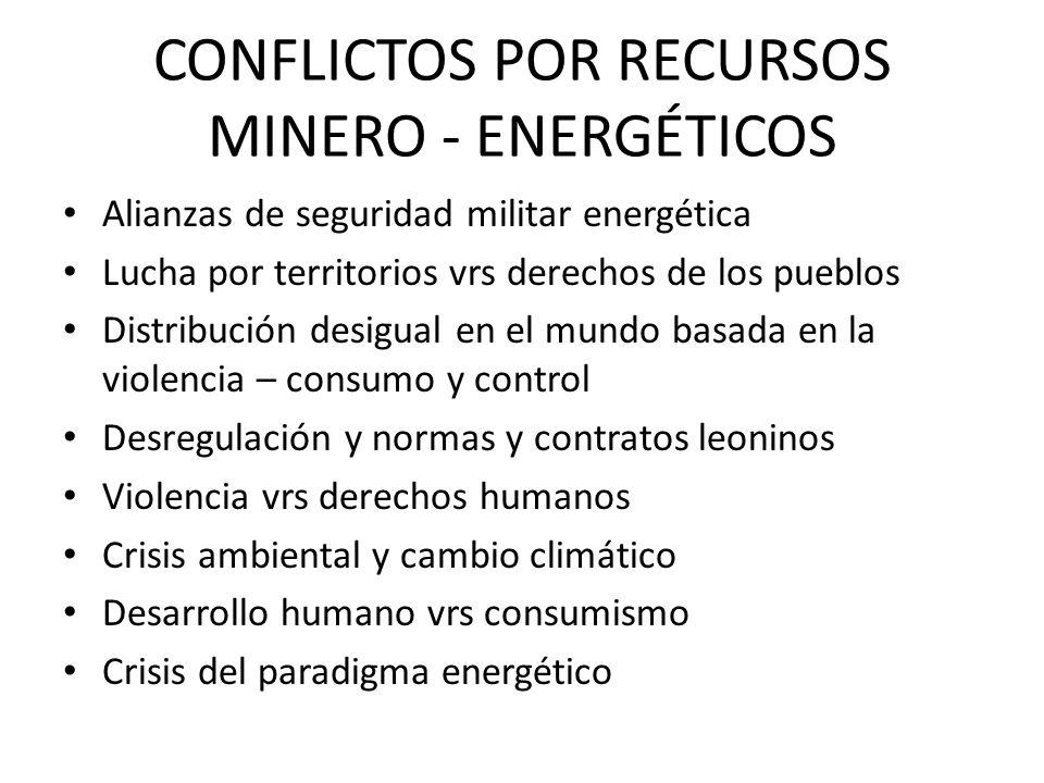 CONFLICTOS POR RECURSOS MINERO - ENERGÉTICOS Alianzas de seguridad militar energética Lucha por territorios vrs derechos de los pueblos Distribución d