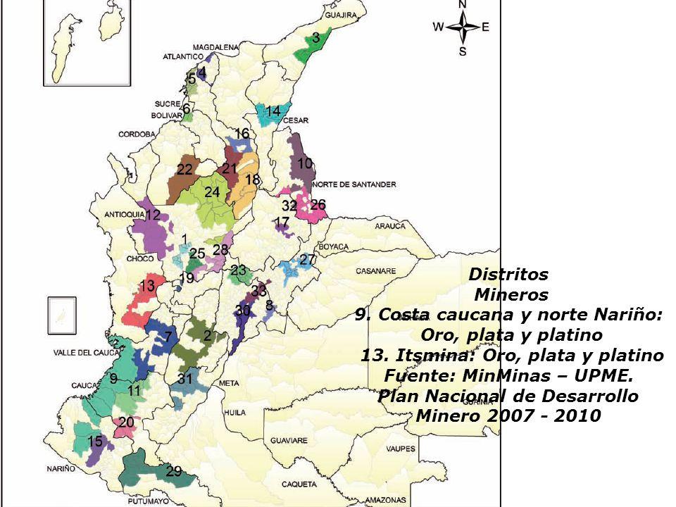 Distritos Mineros 9. Costa caucana y norte Nariño: Oro, plata y platino 13. Itsmina: Oro, plata y platino Fuente: MinMinas – UPME. Plan Nacional de De