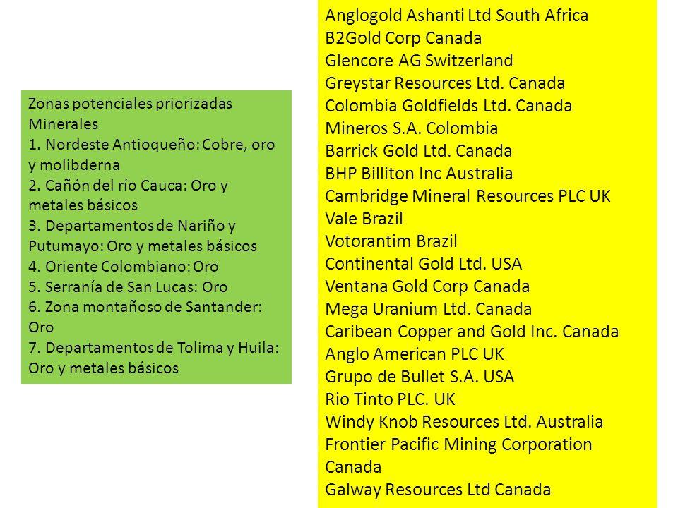 Zonas potenciales priorizadas Minerales 1. Nordeste Antioqueño: Cobre, oro y molibderna 2. Cañón del río Cauca: Oro y metales básicos 3. Departamentos