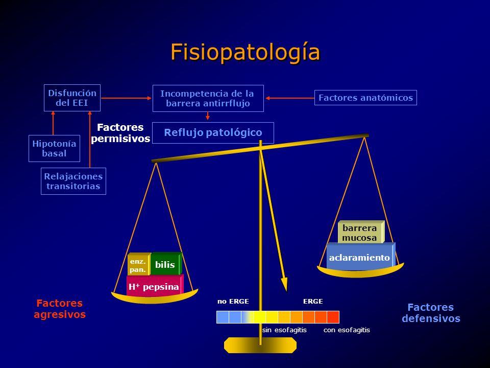 Fisiopatología AgenteMecanismoImplicación en la ERGE Ácido Directo Agentes lesivos principales, participan en el 90% de la ERGE.