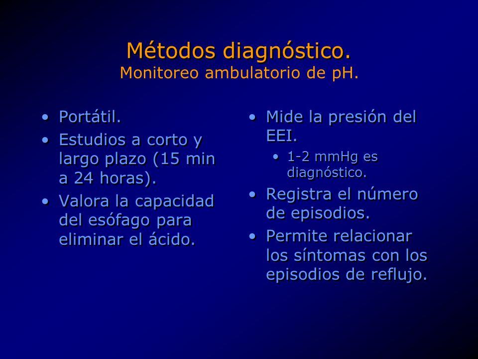 Métodos diagnóstico.>10.5% de tiempo de exposición a <4 pH de pie.