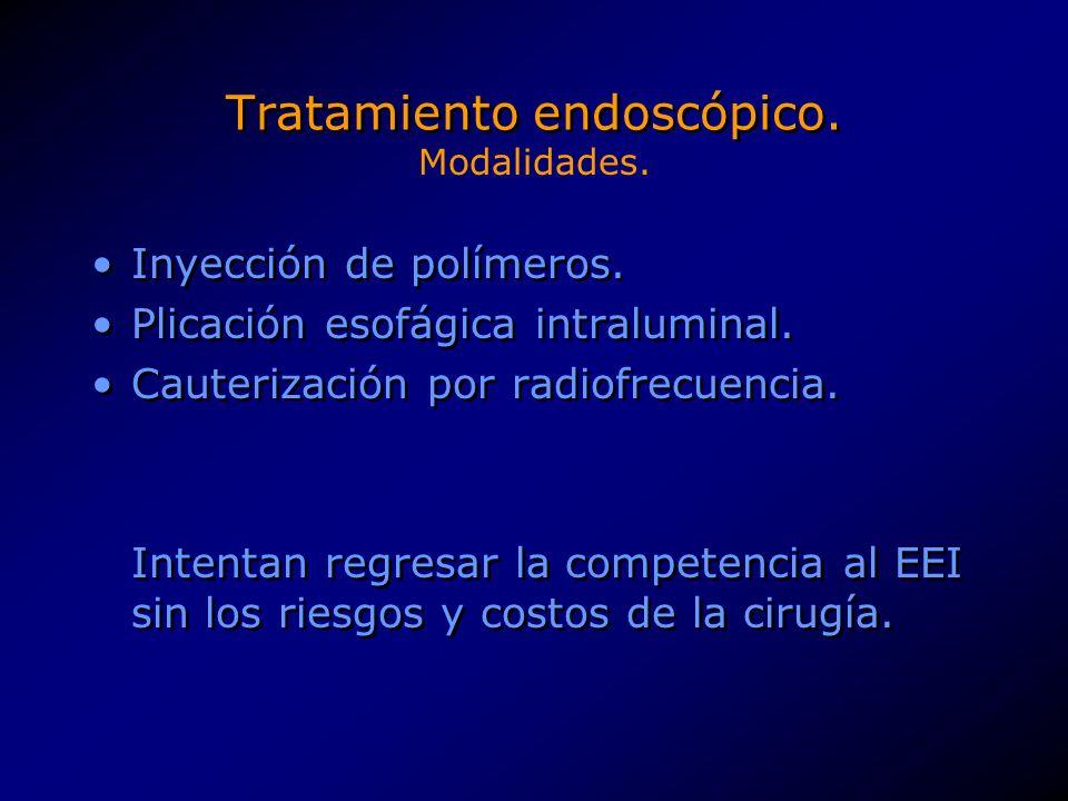 Tratamiento endoscópico.Inyección de polímeros inertes en la muscular externa del EEI.