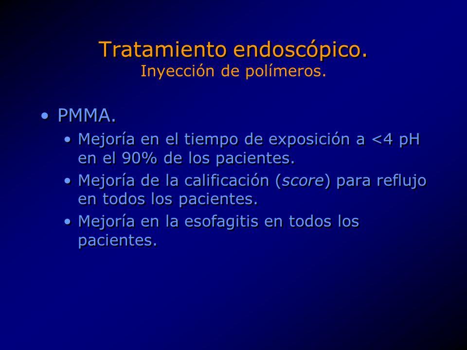 Tratamiento endoscópico.EVA. Normalización de la presión del EEI en todos los pacientes.