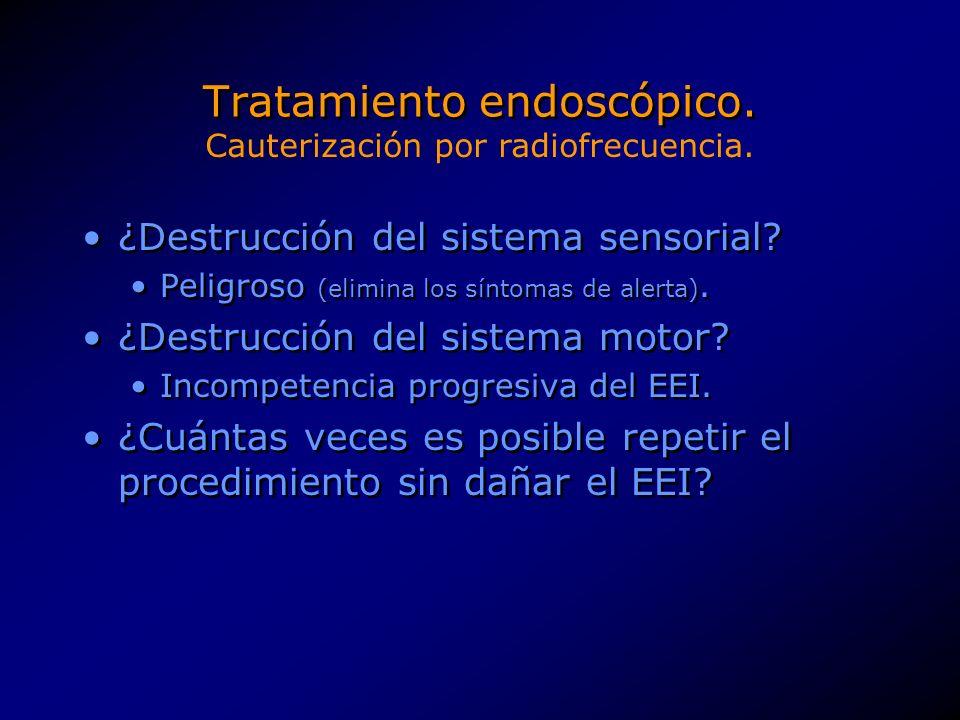 Tratamiento endoscópico.Hasta la fecha (mayo 2001) ningún estudio ha usado controles.