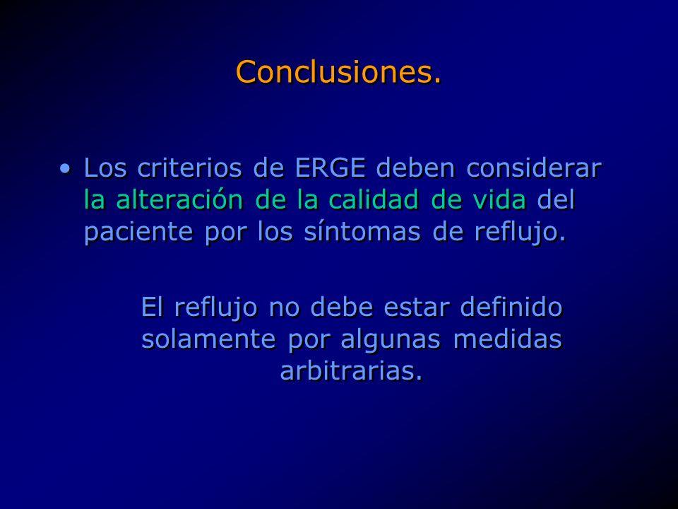 Conclusiones.El tratamiento inicial de la ERGE sigue siendo médico.