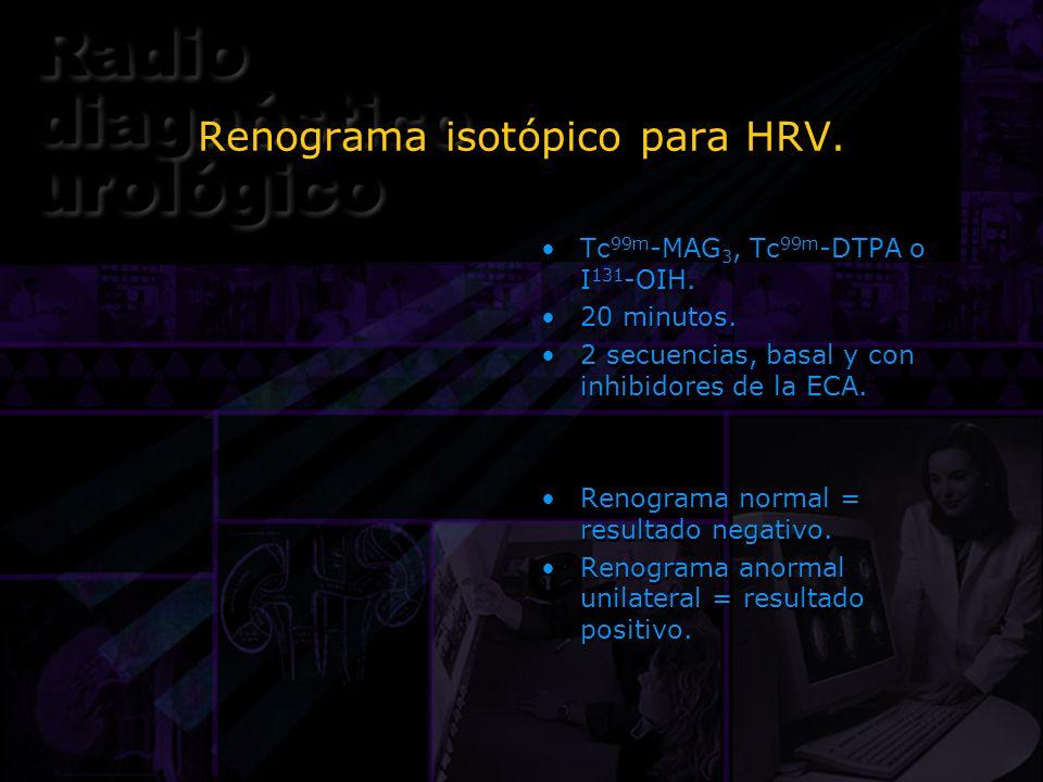 Renograma isotópico para HRV. Tc 99m -MAG 3, Tc 99m -DTPA o I 131 -OIH. 20 minutos. 2 secuencias, basal y con inhibidores de la ECA. Renograma normal