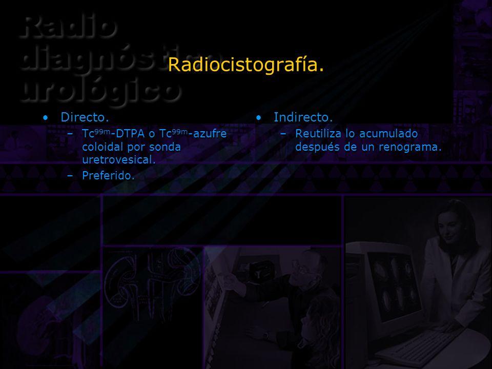 Radiocistografía. Directo. –Tc 99m -DTPA o Tc 99m -azufre coloidal por sonda uretrovesical. –Preferido. Directo. –Tc 99m -DTPA o Tc 99m -azufre coloid