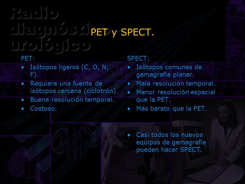 PET y SPECT. PET: Isótopos ligeros (C, O, N, F). Requiere una fuente de isótopos cercana (ciclotrón). Buena resolución temporal. Costoso. PET: Isótopo