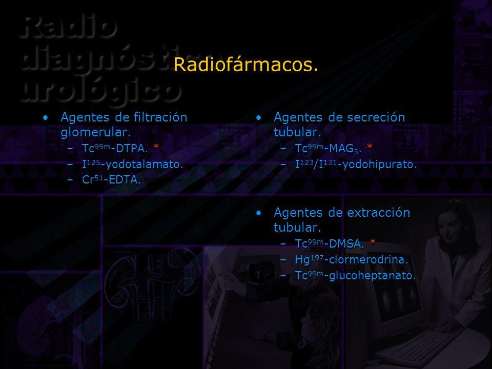 Radiofármacos. Agentes de filtración glomerular. –Tc 99m -DTPA. * –I 125 -yodotalamato. –Cr 51 -EDTA. Agentes de filtración glomerular. –Tc 99m -DTPA.