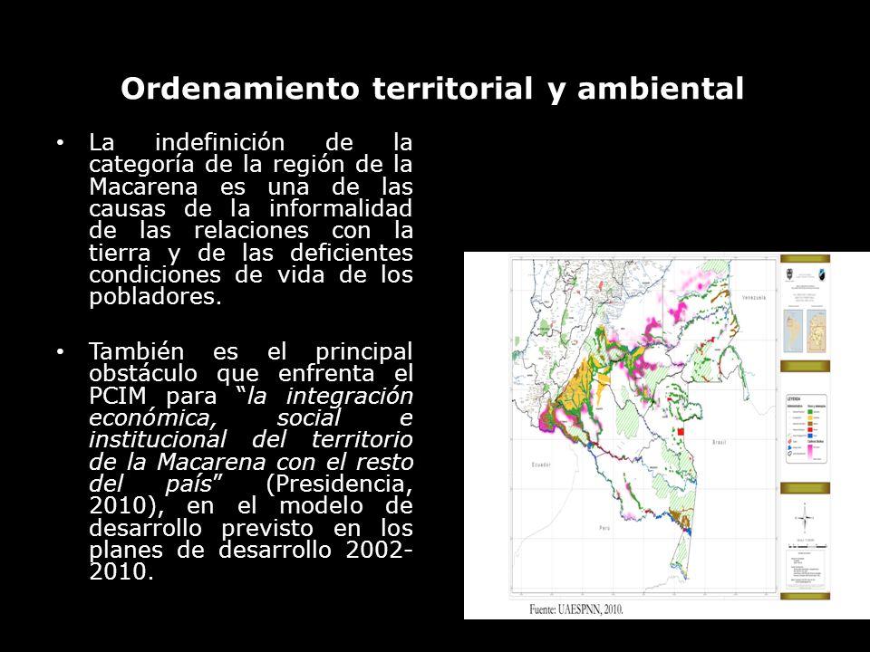 Ordenamiento territorial y ambiental La indefinición de la categoría de la región de la Macarena es una de las causas de la informalidad de las relaci