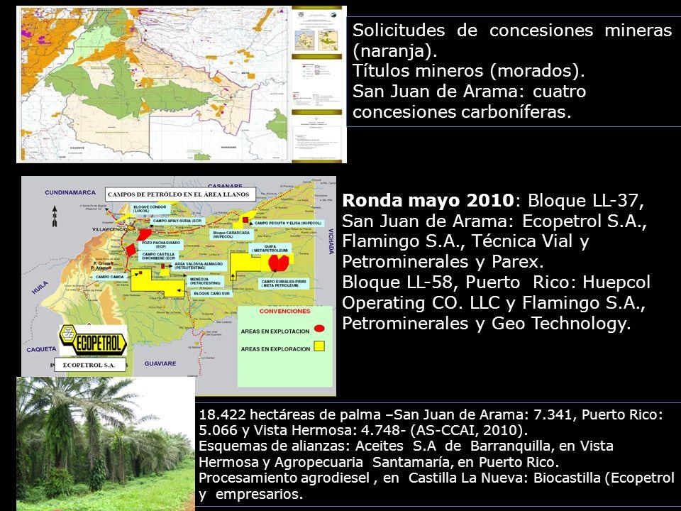 Solicitudes de concesiones mineras (naranja). Títulos mineros (morados). San Juan de Arama: cuatro concesiones carboníferas. Ronda mayo 2010: Bloque L
