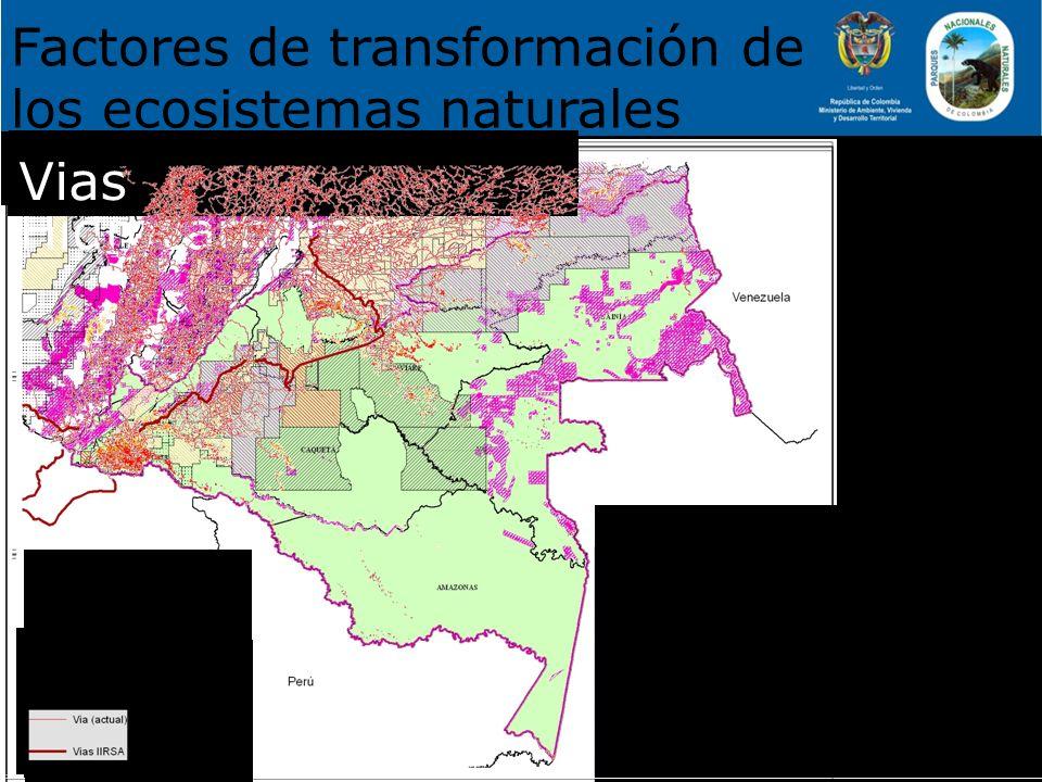 Factores de transformación de los ecosistemas naturales Solicitudes: 4269.321 ha Títulos: 103.904 ha Catastro Minero Minería Bloques de Hidrocarburos