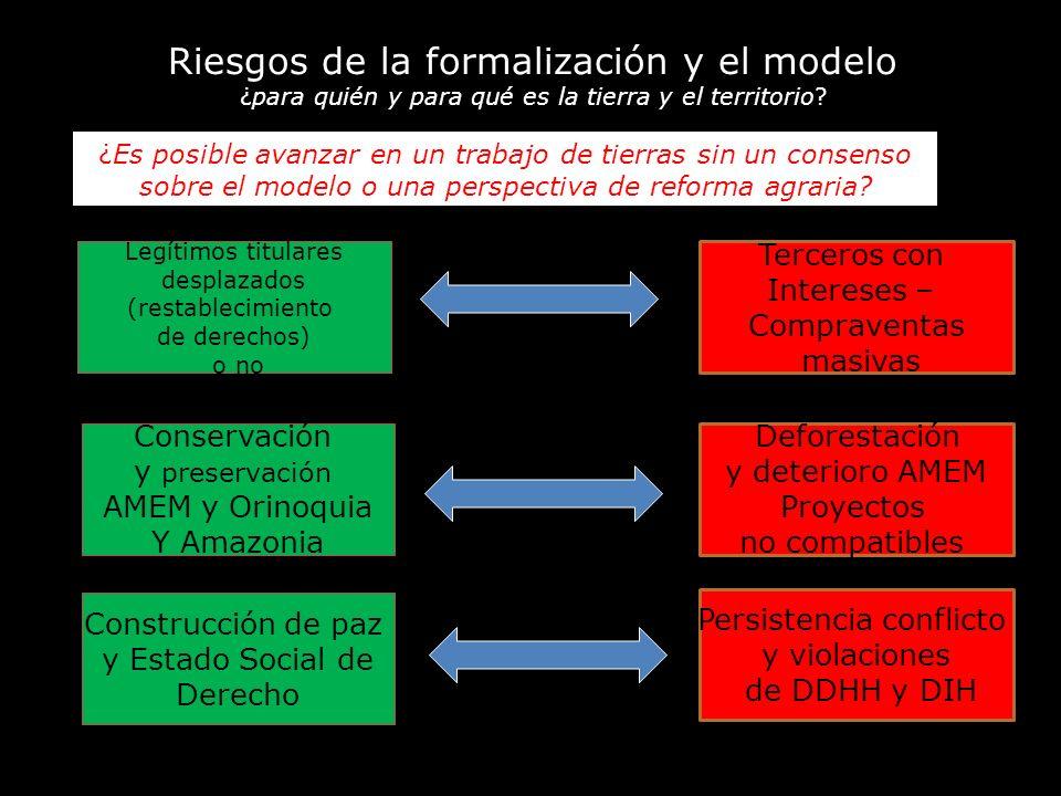 Riesgos de la formalización y el modelo ¿para quién y para qué es la tierra y el territorio? Legítimos titulares desplazados (restablecimiento de dere
