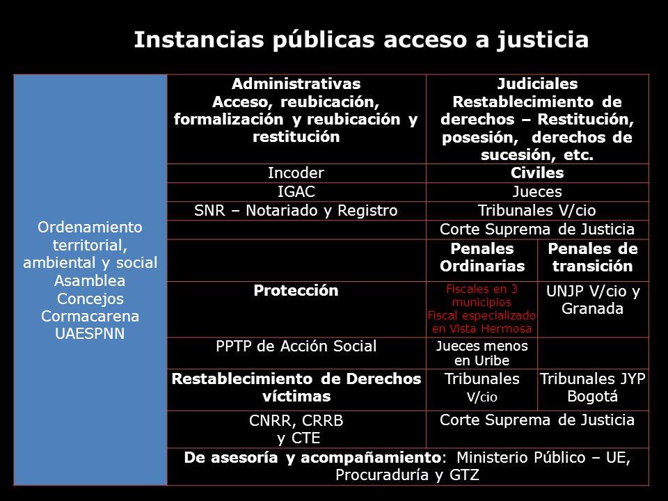 Instancias públicas acceso a justicia Ordenamiento territorial, ambiental y social Asamblea Concejos Cormacarena UAESPNN Administrativas Acceso, reubi