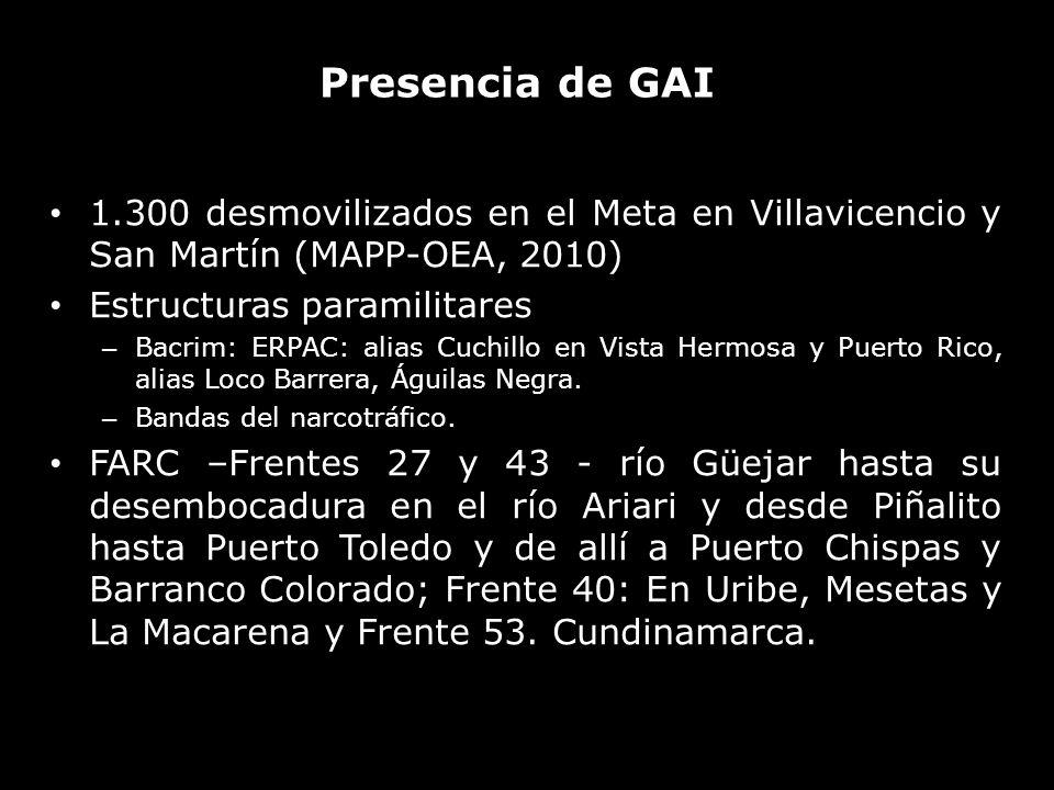 Presencia de GAI 1.300 desmovilizados en el Meta en Villavicencio y San Martín (MAPP-OEA, 2010) Estructuras paramilitares – Bacrim: ERPAC: alias Cuchi