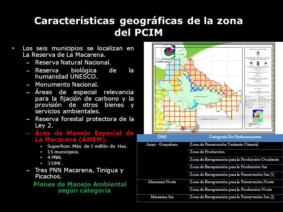 Características geográficas de la zona del PCIM Los seis municipios se localizan en La Reserva de La Macarena. – Reserva Natural Nacional. – Reserva b