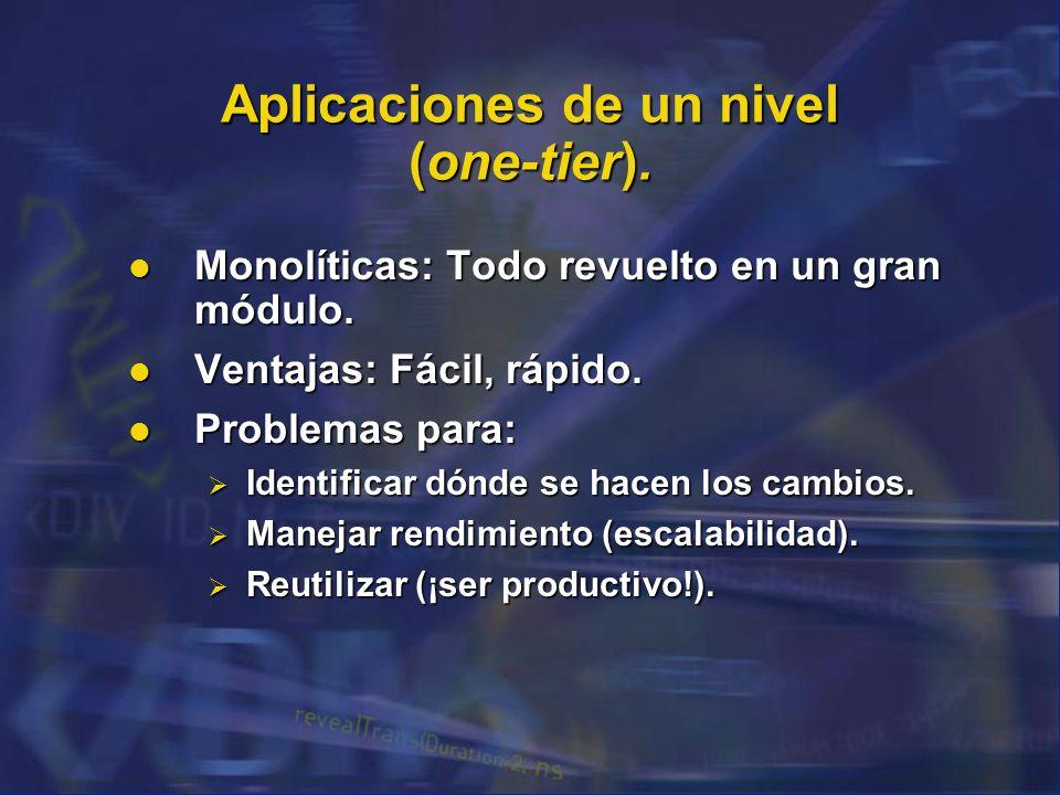 Aplicaciones de un nivel (one-tier). Monolíticas: Todo revuelto en un gran módulo. Monolíticas: Todo revuelto en un gran módulo. Ventajas: Fácil, rápi