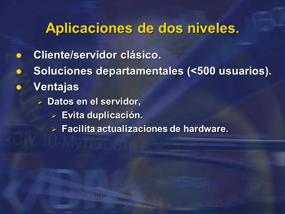 Aplicaciones de dos niveles. Cliente/servidor clásico. Cliente/servidor clásico. Soluciones departamentales (<500 usuarios). Soluciones departamentale