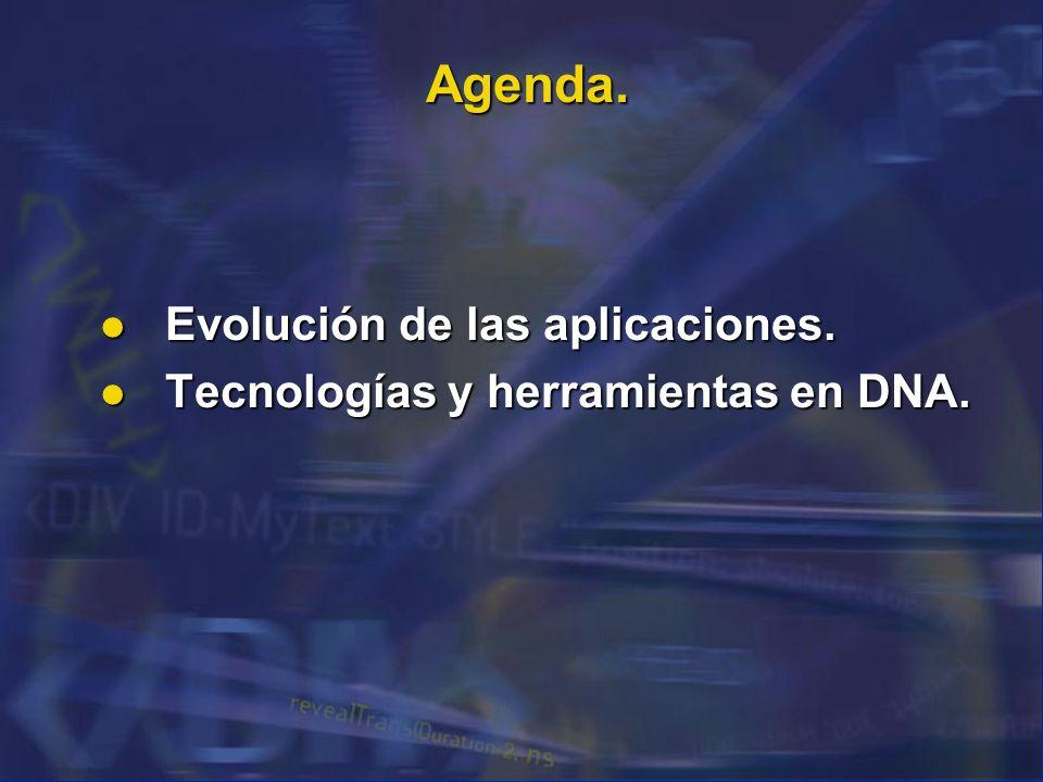 Agenda. Evolución de las aplicaciones. Evolución de las aplicaciones. Tecnologías y herramientas en DNA. Tecnologías y herramientas en DNA.