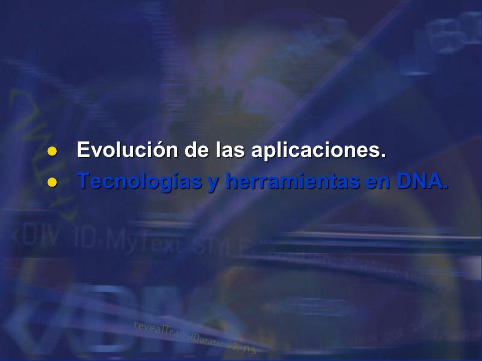 Evolución de las aplicaciones. Evolución de las aplicaciones. Tecnologías y herramientas en DNA. Tecnologías y herramientas en DNA.