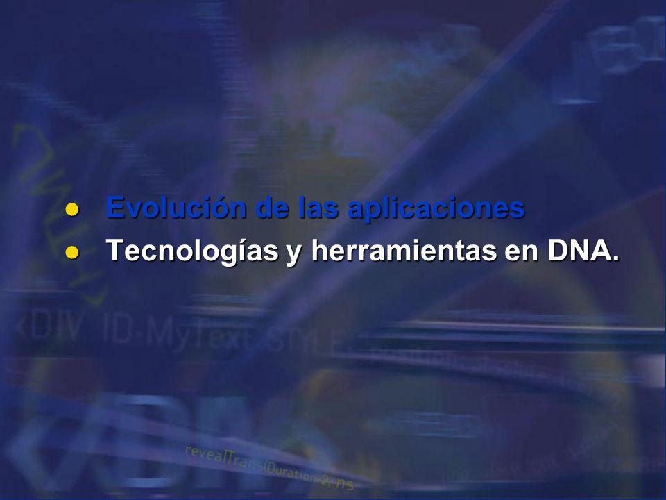 Evolución de las aplicaciones Evolución de las aplicaciones Tecnologías y herramientas en DNA. Tecnologías y herramientas en DNA.