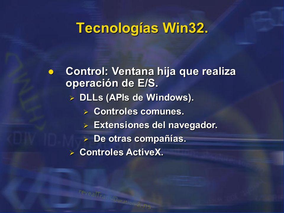 Tecnologías Win32. Control: Ventana hija que realiza operación de E/S. Control: Ventana hija que realiza operación de E/S. DLLs (APIs de Windows). DLL