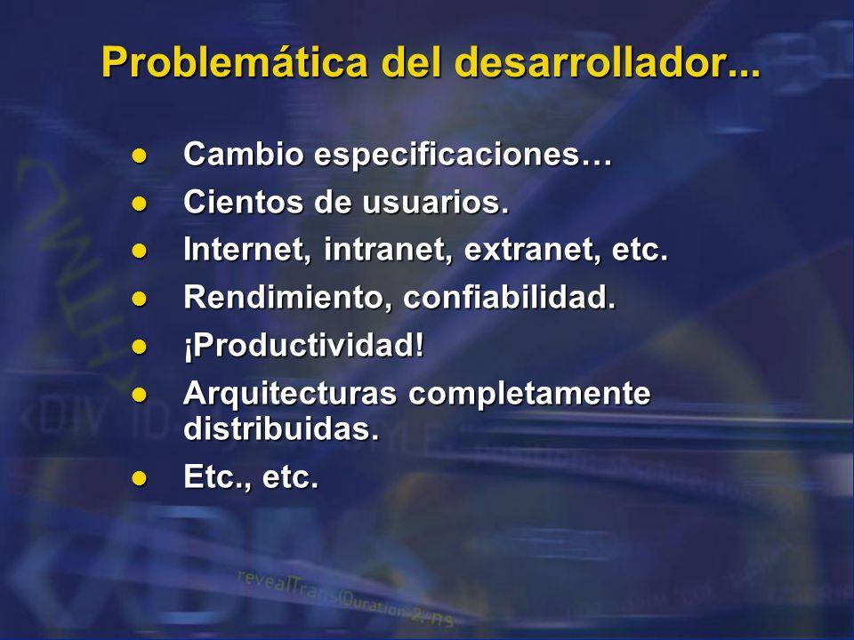 Problemática del desarrollador... Cambio especificaciones… Cambio especificaciones… Cientos de usuarios. Cientos de usuarios. Internet, intranet, extr