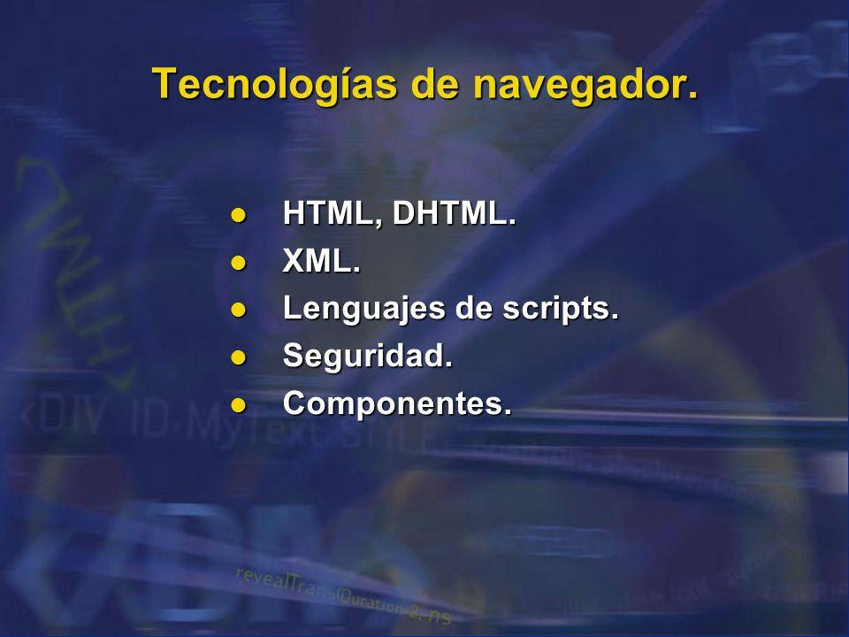 Tecnologías de navegador. HTML, DHTML. HTML, DHTML. XML. XML. Lenguajes de scripts. Lenguajes de scripts. Seguridad. Seguridad. Componentes. Component