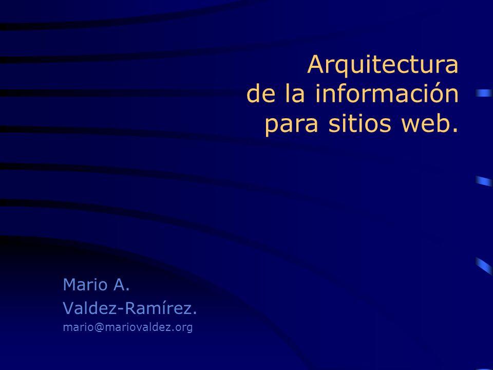 Arquitectura de la información para sitios web. Mario A. Valdez-Ramírez. mario@mariovaldez.org Mario A. Valdez-Ramírez. mario@mariovaldez.org