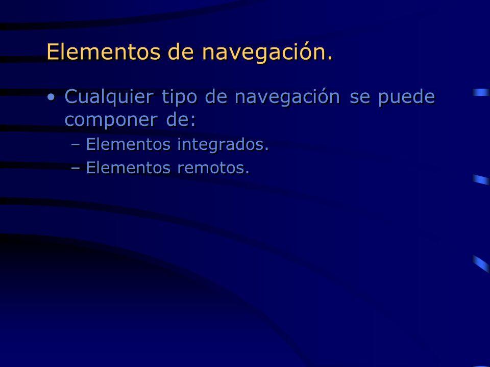 Elementos de navegación. Cualquier tipo de navegación se puede componer de: –Elementos integrados. –Elementos remotos. Cualquier tipo de navegación se