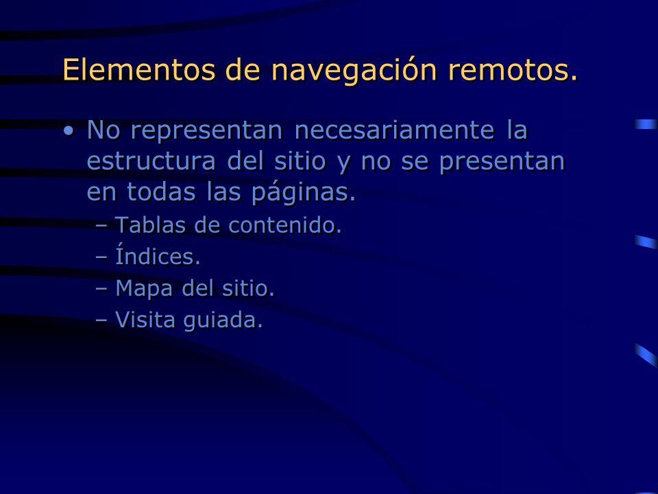 Elementos de navegación remotos. No representan necesariamente la estructura del sitio y no se presentan en todas las páginas. –Tablas de contenido. –