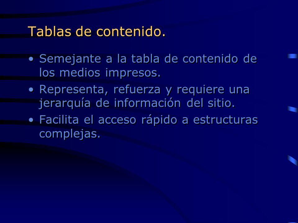 Tablas de contenido. Semejante a la tabla de contenido de los medios impresos. Representa, refuerza y requiere una jerarquía de información del sitio.