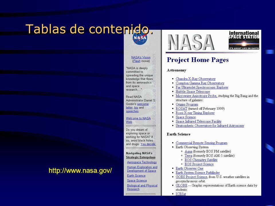Tablas de contenido. http://www.nasa.gov/