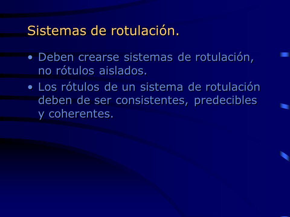Sistemas de rotulación. Deben crearse sistemas de rotulación, no rótulos aislados. Los rótulos de un sistema de rotulación deben de ser consistentes,