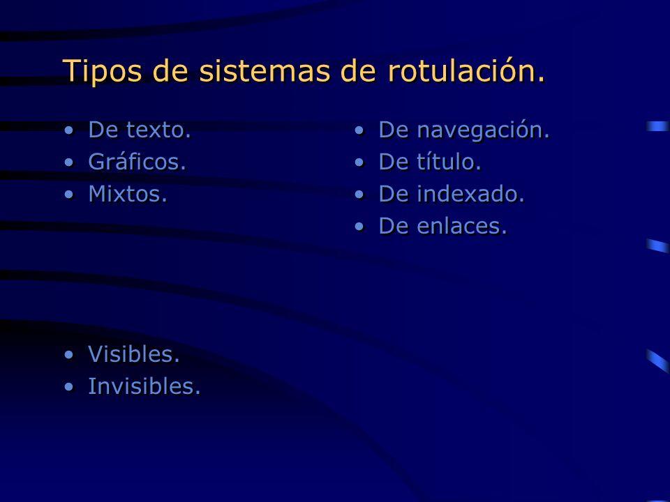 Tipos de sistemas de rotulación. De texto. Gráficos. Mixtos. Visibles. Invisibles. De texto. Gráficos. Mixtos. Visibles. Invisibles. De navegación. De