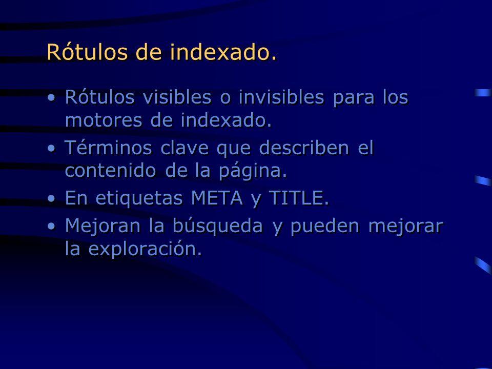 Rótulos de indexado. Rótulos visibles o invisibles para los motores de indexado. Términos clave que describen el contenido de la página. En etiquetas
