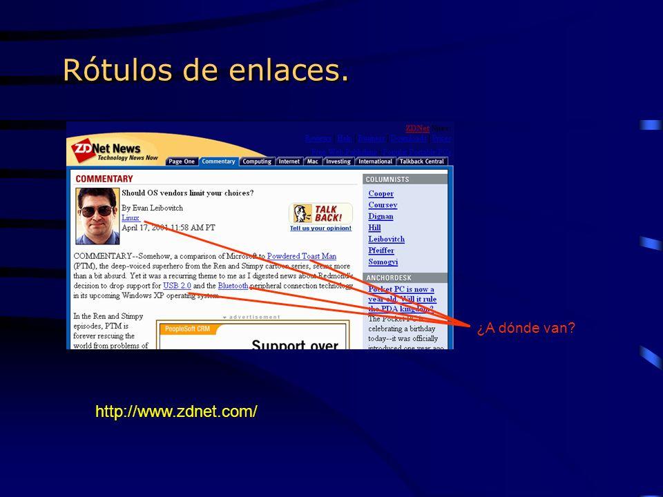 Rótulos de enlaces. http://www.zdnet.com/ ¿A dónde van?