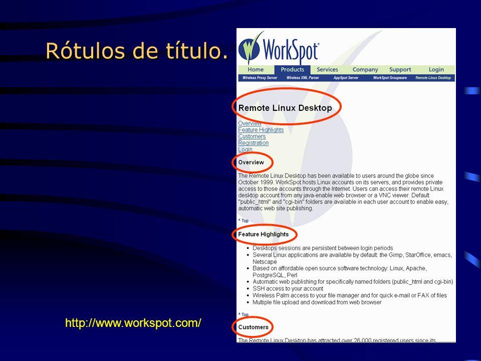 Rótulos de título. http://www.workspot.com/