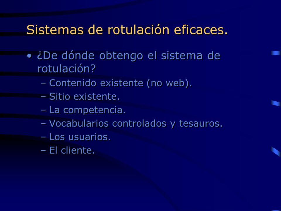 Sistemas de rotulación eficaces. ¿De dónde obtengo el sistema de rotulación? –Contenido existente (no web). –Sitio existente. –La competencia. –Vocabu