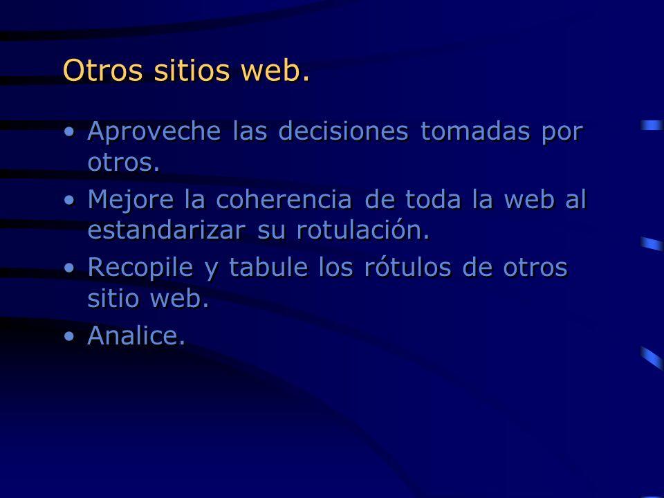 Otros sitios web. Aproveche las decisiones tomadas por otros. Mejore la coherencia de toda la web al estandarizar su rotulación. Recopile y tabule los
