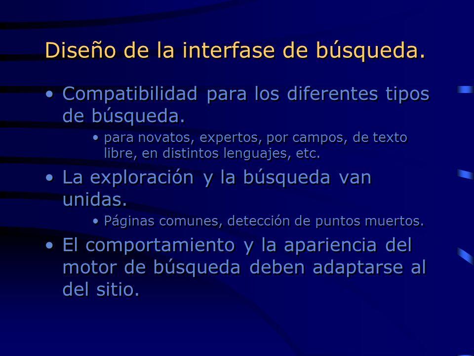 Diseño de la interfase de búsqueda. Compatibilidad para los diferentes tipos de búsqueda. para novatos, expertos, por campos, de texto libre, en disti