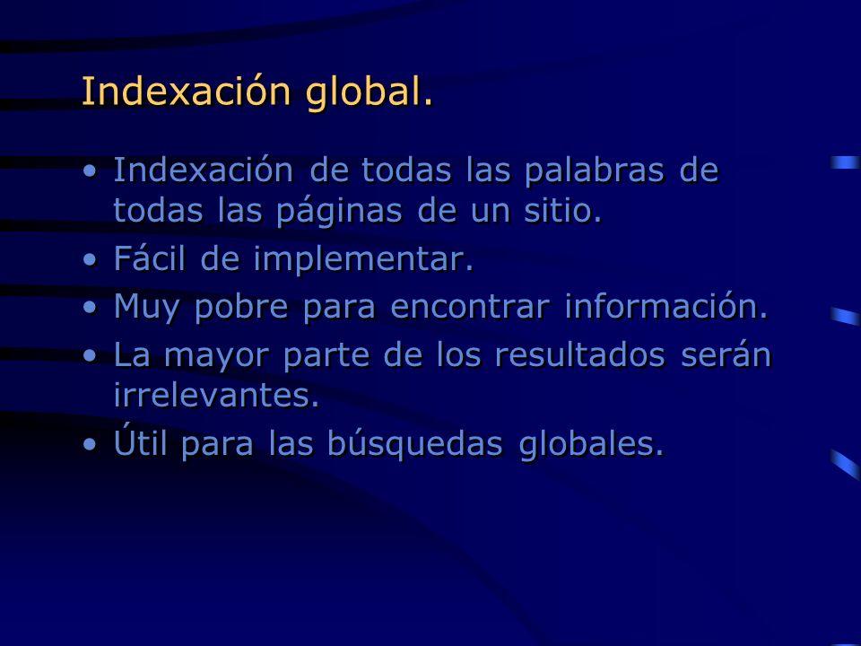 Indexación global. Indexación de todas las palabras de todas las páginas de un sitio. Fácil de implementar. Muy pobre para encontrar información. La m