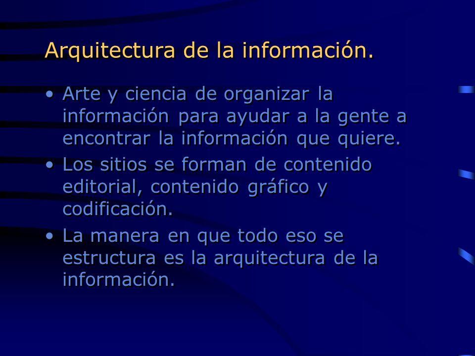Arte y ciencia de organizar la información para ayudar a la gente a encontrar la información que quiere. Los sitios se forman de contenido editorial,