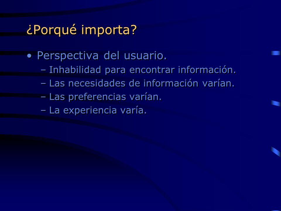 ¿Porqué importa? Perspectiva del usuario. –Inhabilidad para encontrar información. –Las necesidades de información varían. –Las preferencias varían. –