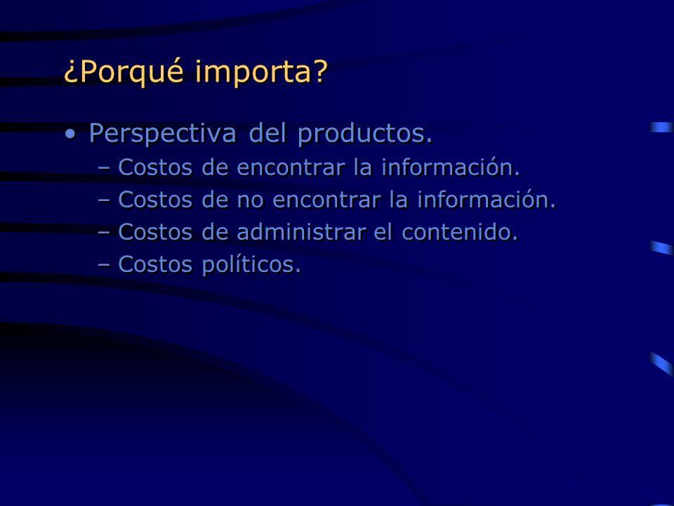 ¿Porqué importa? Perspectiva del productos. –Costos de encontrar la información. –Costos de no encontrar la información. –Costos de administrar el con