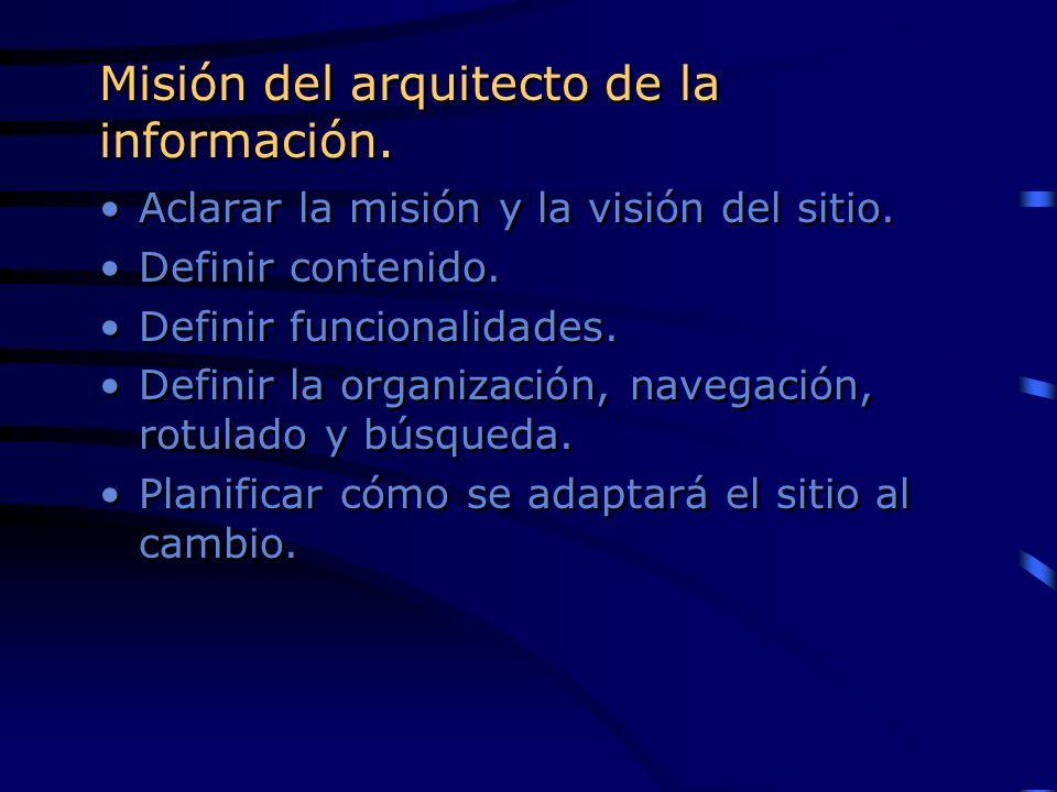 Misión del arquitecto de la información. Aclarar la misión y la visión del sitio. Definir contenido. Definir funcionalidades. Definir la organización,