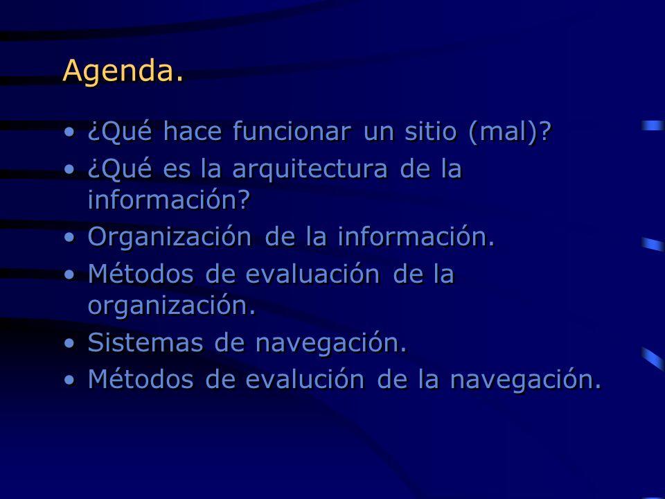 Agenda. ¿Qué hace funcionar un sitio (mal)? ¿Qué es la arquitectura de la información? Organización de la información. Métodos de evaluación de la org