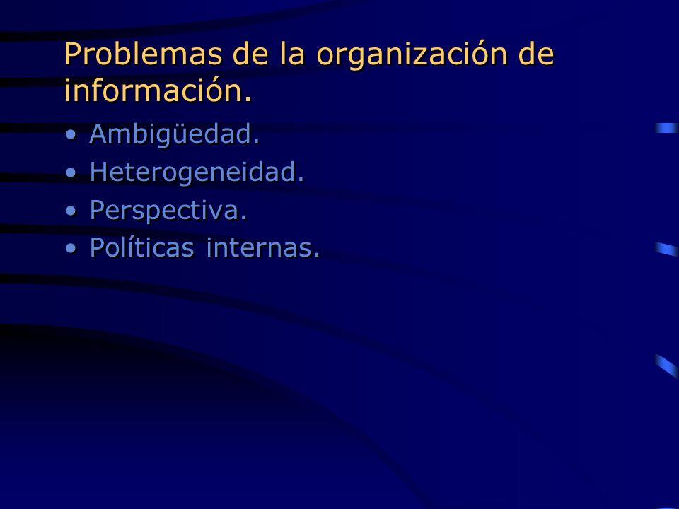 Problemas de la organización de información. Ambigüedad. Heterogeneidad. Perspectiva. Políticas internas. Ambigüedad. Heterogeneidad. Perspectiva. Pol