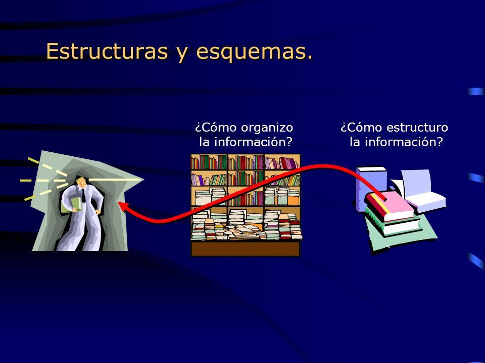 Estructuras y esquemas. ¿Cómo organizo la información? ¿Cómo estructuro la información?